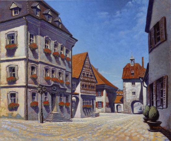 Monheim, Rathaus 2015 50x60 Öl auf Leinwand