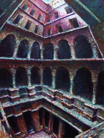 Barcelona, Innenhof 2013 40x30 Öl auf Holz